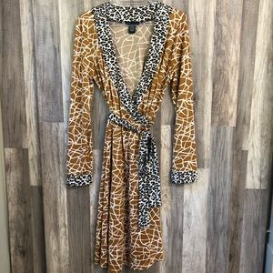BCBGMAXAZRIA Mixed Animal Print Wrap Dress